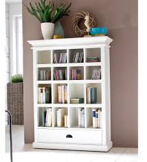 Bookcase With Cupboard Furniture Large White Wooden Corner Bookcase With Storage Many