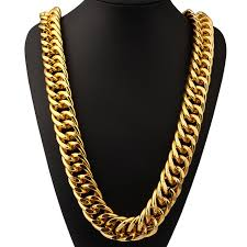 gold big chain necklace images Big bcuban chain necklace 260mm width 35 4in long chain men gold jpg