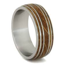 mens wedding rings unique 8mm tungsten carbide with 2mm buckeye wood inlay b122m at mwb