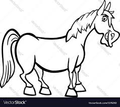 farm horse cartoon for coloring book royalty free vector