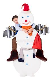 deliver presents boy and snowman with jetpack deliver presents for christmas stock