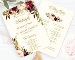 wedding program on a fan wedding program fan etsy