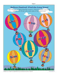 balloon festival find the long vowel printable worksheets