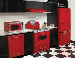 Retro Kitchen Curtains by Red Appliances For Kitchen Kitchen And Residential Design