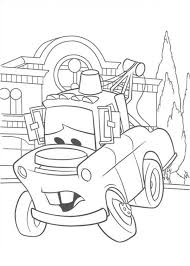 sheriff car hiding behind billboard in disney cars colouring page