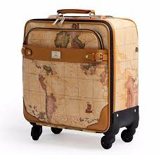 Travel luggage trolley bag leather suitcase map print wheels 16 20