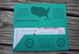 destination wedding invitations turquoise coral swirls palm trees boarding pass wedding