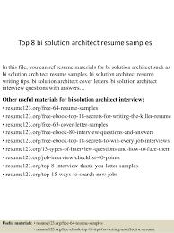 solution architect resume pdf top 8 bi solution architect resume