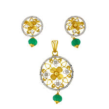 emerald drop two tone pendant set with emerald drop andaaz jewelers