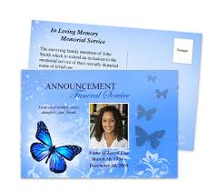 funeral announcements butterfly funeral announcement postcard