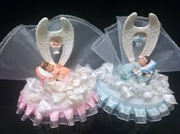 Angel Decorated Cake Christening Baptism Boy With Angel Wings Cake Topper Top