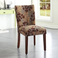 classic brown tan sage leaf fabric dining chair homepop