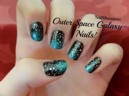 easy outer space galaxy nail art youtube