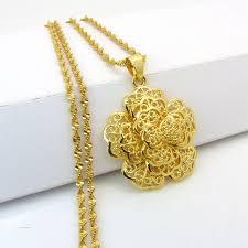 gold flower pendant necklace images Buy filigree golden flower pendant chainyellow jpg