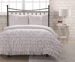 White Ruffled Comforter Bedroom Luxury White Lace Bedding Set Twin Four Ruffle Flabge