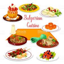 cuisine bulgare icône de la cuisine bulgare de déjeuner avec dessert stock vecteur