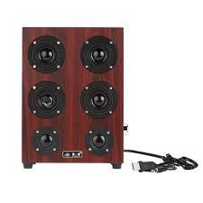 best hifi subwoofer speaker wooden leather 3 5mm speaker