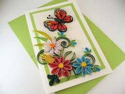 special mom birthday card with quilled butterfly and spring