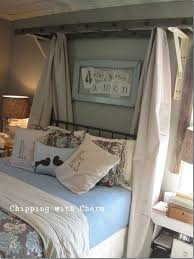 rustic master bedroom ideas with creative diy ladder bed canopy