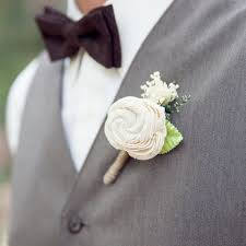 wedding flowers groom ivory boutonniere made to order groom wedding buttonhole