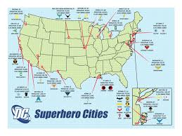 Map Of Central Florida Cities by A Map Of All The Dc Cities And Their Repsective Heroes Dccomics