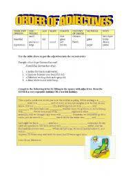 english worksheets order of adjectives worksheets page 9