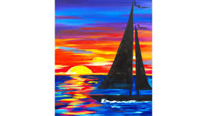 sailboat sunset seascape acrylic painting for beginners youtube
