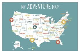 Delaware Map Usa by Children Inspire Design Usa Personalized Adventure Map Paper Print