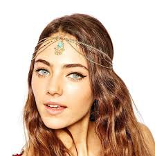 forehead bands boho hair accessories gold indian chain hair jewelry palm