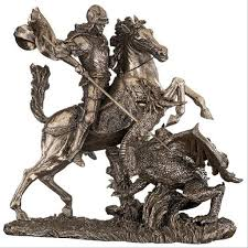 st george slaying the dragon sculpture wu73533 design toscano