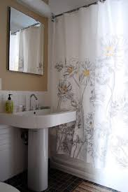 modern shower curtains bathroom midcentury with mounted makeup mirrors