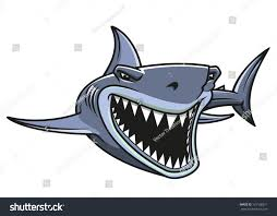 angry danger shark cartoon style mascot stock vector 131168321