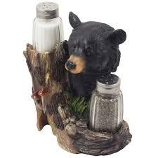 amazon com black bear glass salt and pepper shaker set sculpture