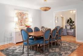 dazzling ikat rug look austin transitional dining room inspiration