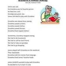 printable reading comprehension test grandma is always sewing first grade reading comprehension test