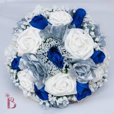 Royal Blue And Silver Wedding Royal Blue And Silver Wedding Bridal Bouquet By Thebridalflower