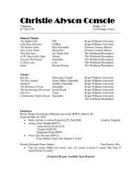 theatrical resume template resume venturecapitalupdate