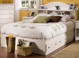 full size white storage bed with bookcase headboard 10101
