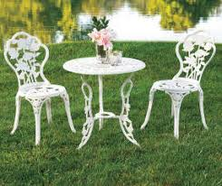 Vintage Bistro Table And Chairs Wilson U0026 Fisher Vintage White Rose 3 Piece Bistro Set Big Lots
