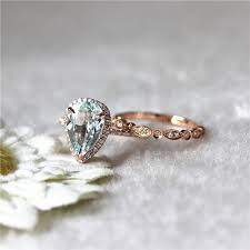 aquamarine and diamond ring 14k gold aquamarine ring diamond halo aquamarine engagement