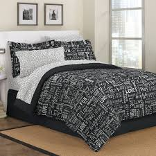 black white live love laugh teen girl bedding twin full queen king comforter set bed in a bag