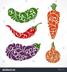 ornamental decorative vegetables symbols icons set stock vector