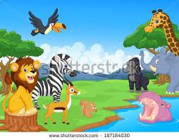 safari cartoon cute african safari animal cartoon characters stock photo photo