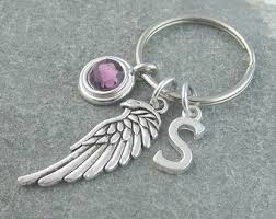 personalized birthstone keychains angel wing keychain etsy