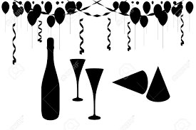champagne silhouette celebration clipart silhouette pencil and in color celebration