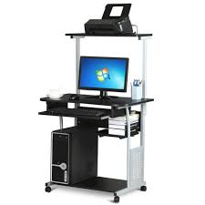 Mobile Computer Desk Mobile Standing Computer Workstation With Tray Stand Up Desk