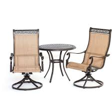 Patio Furniture Swivel Chairs Hanover Manor 3 Piece Round Patio Bistro Set With Sling Back
