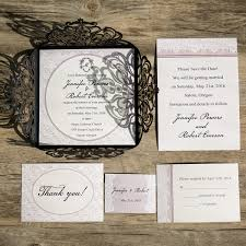 vintage lace wedding invitations vintage lace black laser cut wedding invitations ewws063