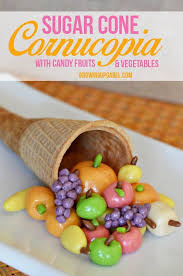 make a diy thanksgiving cornucopia using and a sugar cone