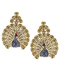 design of earrings buy zaveri pearls glittering peacock design stud earring